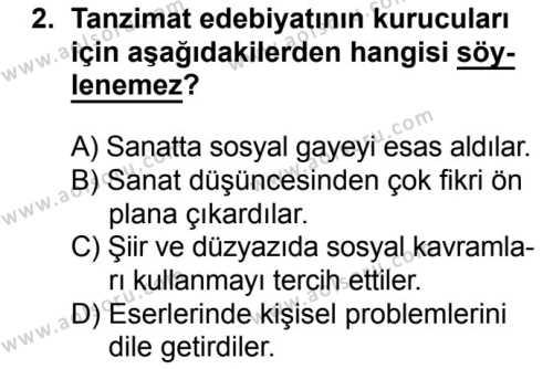 Seçmeli Türk Edebiyatı 5 Dersi 2017 - 2018 Yılı Ek Sınavı 2. Soru