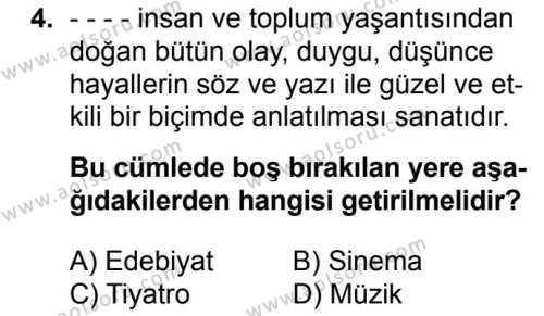Seçmeli Türk Edebiyatı 5 Dersi 2017 - 2018 Yılı Ek Sınavı 4. Soru