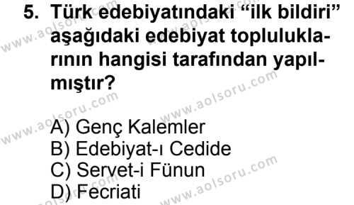 Seçmeli Türk Edebiyatı 6 Dersi 2011-2012 Yılı 1. Dönem Sınavı 5. Soru