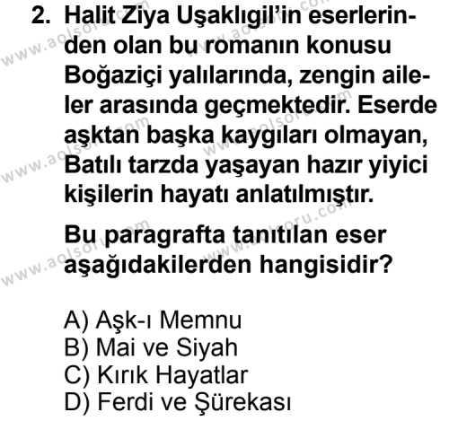 Seçmeli Türk Edebiyatı 6 Dersi 2011 - 2012 Yılı Ek Sınav Soruları 2. Soru