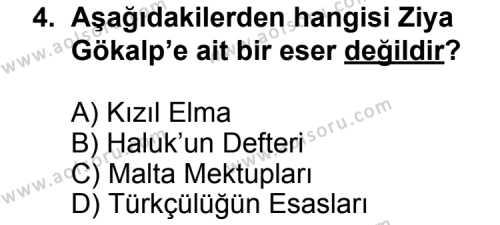 Seçmeli Türk Edebiyatı 6 Dersi 2011 - 2012 Yılı Ek Sınav Soruları 4. Soru