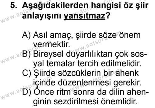 Seçmeli Türk Edebiyatı 6 Dersi 2012-2013 Yılı 1. Dönem Sınavı 5. Soru