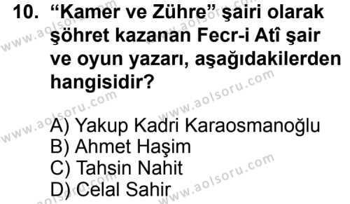 Seçmeli Türk Edebiyatı 6 Dersi 2012-2013 Yılı 1. Dönem Sınavı 10. Soru
