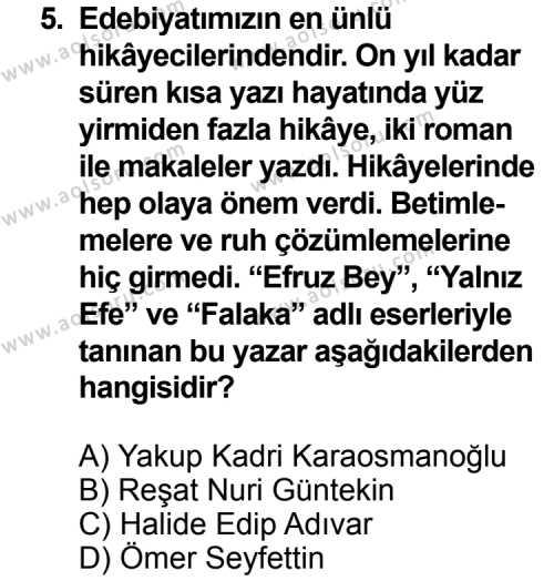 Seçmeli Türk Edebiyatı 6 Dersi 2013-2014 Yılı 1. Dönem Sınavı 5. Soru