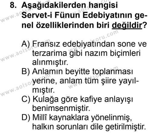 Seçmeli Türk Edebiyatı 6 Dersi 2013-2014 Yılı 1. Dönem Sınavı 8. Soru