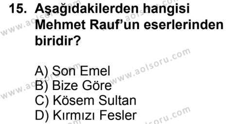 Seçmeli Türk Edebiyatı 6 Dersi 2013-2014 Yılı 1. Dönem Sınavı 15. Soru