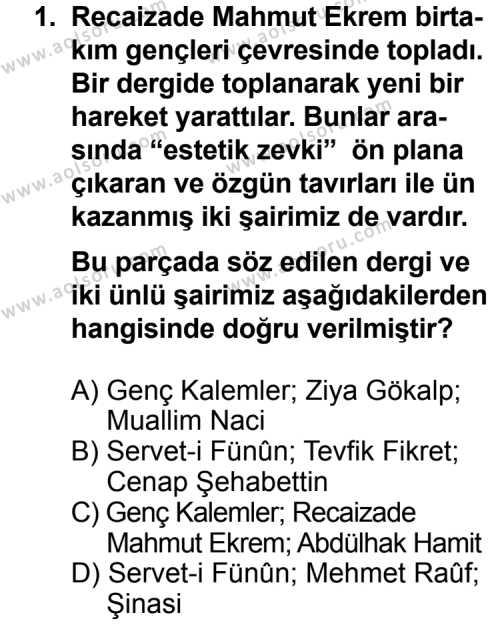Seçmeli Türk Edebiyatı 6 Dersi 2013 - 2014 Yılı 3. Dönem Sınav Soruları 1. Soru