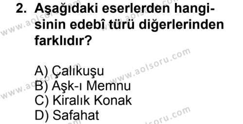 Seçmeli Türk Edebiyatı 6 Dersi 2013 - 2014 Yılı 3. Dönem Sınav Soruları 2. Soru