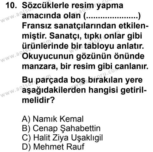 Seçmeli Türk Edebiyatı 6 Dersi 2014-2015 Yılı 1. Dönem Sınavı 10. Soru