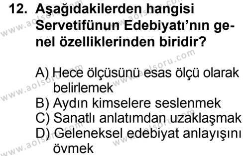 Seçmeli Türk Edebiyatı 6 Dersi 2014-2015 Yılı 1. Dönem Sınavı 12. Soru