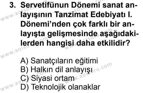 Seçmeli Türk Edebiyatı 6 Dersi 2014 - 2015 Yılı Ek Sınav Soruları 3. Soru