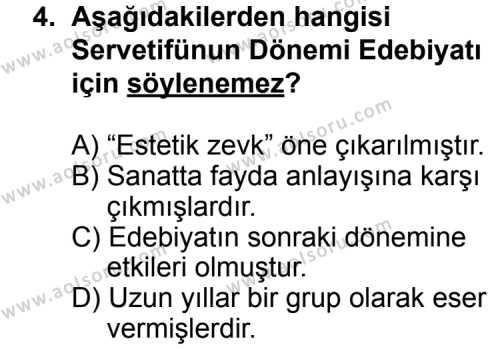Seçmeli Türk Edebiyatı 6 Dersi 2014 - 2015 Yılı Ek Sınav Soruları 4. Soru