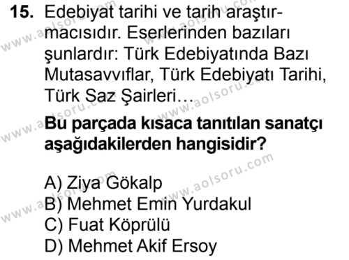 Seçmeli Türk Edebiyatı 6 Dersi 2016-2017 Yılı 1. Dönem Sınavı 15. Soru