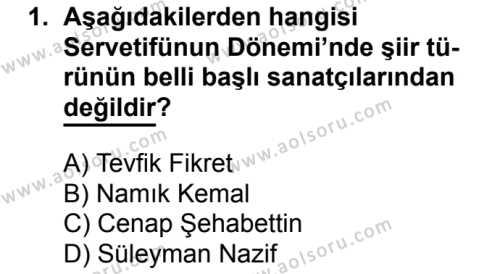 Seçmeli Türk Edebiyatı 6 Dersi 2017 - 2018 Yılı 2. Dönem Sınavı 1. Soru