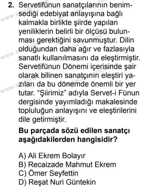 Seçmeli Türk Edebiyatı 6 Dersi 2017 - 2018 Yılı 2. Dönem Sınavı 2. Soru