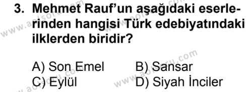 Seçmeli Türk Edebiyatı 6 Dersi 2017 - 2018 Yılı 2. Dönem Sınavı 3. Soru