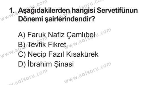 Seçmeli Türk Edebiyatı 6 Dersi 2017 - 2018 Yılı 3. Dönem Sınavı 1. Soru
