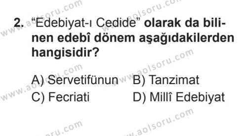 Seçmeli Türk Edebiyatı 6 Dersi 2017 - 2018 Yılı 3. Dönem Sınavı 2. Soru
