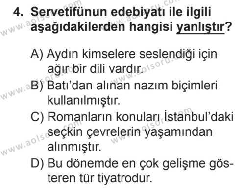 Seçmeli Türk Edebiyatı 6 Dersi 2017 - 2018 Yılı 3. Dönem Sınavı 4. Soru