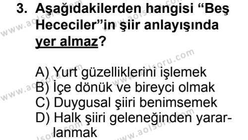Seçmeli Türk Edebiyatı 7 Dersi 2011 - 2012 Yılı Ek Sınav Soruları 3. Soru