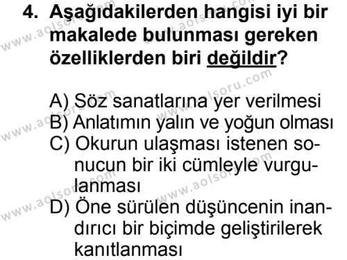 Seçmeli Türk Edebiyatı 7 Dersi 2011 - 2012 Yılı Ek Sınav Soruları 4. Soru