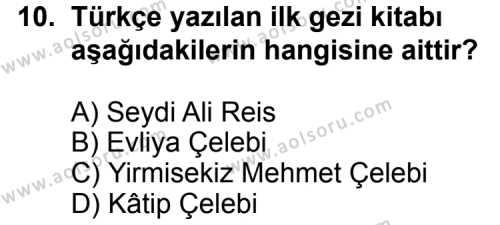 Seçmeli Türk Edebiyatı 7 Dersi 2012-2013 Yılı 1. Dönem Sınavı 10. Soru
