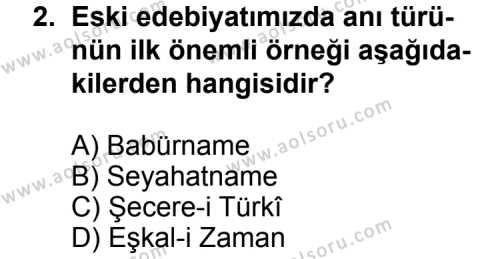 Seçmeli Türk Edebiyatı 7 Dersi 2013-2014 Yılı 1. Dönem Sınavı 2. Soru