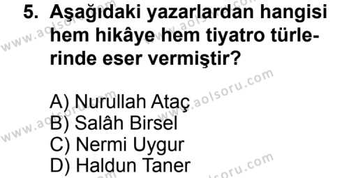 Seçmeli Türk Edebiyatı 7 Dersi 2013-2014 Yılı 1. Dönem Sınavı 5. Soru