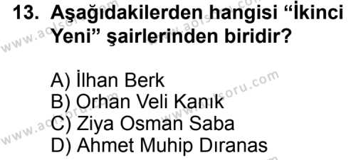 Seçmeli Türk Edebiyatı 7 Dersi 2013-2014 Yılı 1. Dönem Sınavı 13. Soru