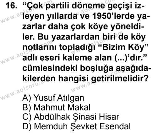 Seçmeli Türk Edebiyatı 7 Dersi 2013-2014 Yılı 1. Dönem Sınavı 16. Soru