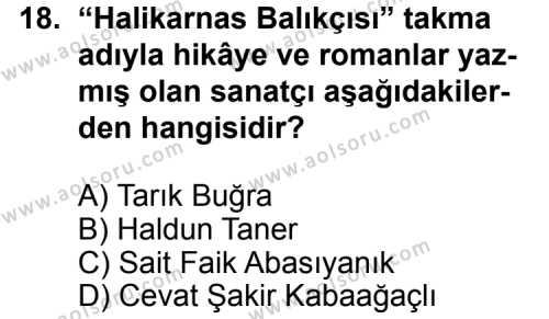Seçmeli Türk Edebiyatı 7 Dersi 2013-2014 Yılı 1. Dönem Sınavı 18. Soru