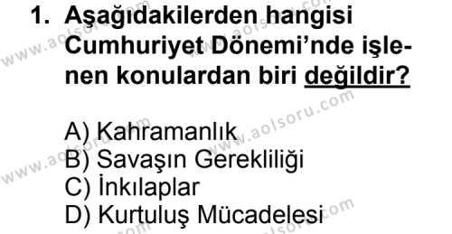Seçmeli Türk Edebiyatı 7 Dersi 2014-2015 Yılı 1. Dönem Sınavı 1. Soru