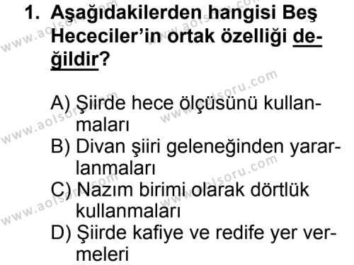 Seçmeli Türk Edebiyatı 7 Dersi 2014 - 2015 Yılı Ek Sınav Soruları 1. Soru