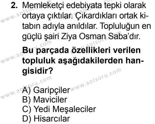 Seçmeli Türk Edebiyatı 7 Dersi 2014 - 2015 Yılı Ek Sınav Soruları 2. Soru