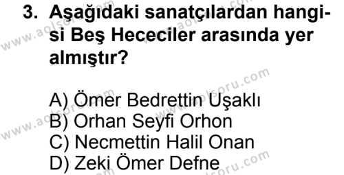 Seçmeli Türk Edebiyatı 7 Dersi 2014 - 2015 Yılı Ek Sınav Soruları 3. Soru