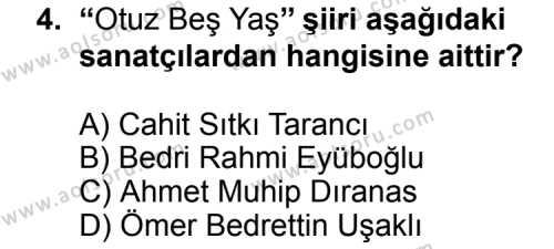 Seçmeli Türk Edebiyatı 7 Dersi 2014 - 2015 Yılı Ek Sınav Soruları 4. Soru