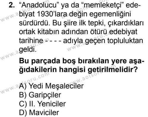 Seçmeli Türk Edebiyatı 7 Dersi 2016-2017 Yılı 1. Dönem Sınavı 2. Soru