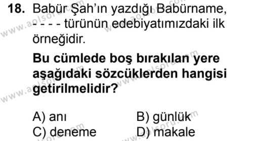 Seçmeli Türk Edebiyatı 7 Dersi 2017-2018 Yılı 1. Dönem Sınavı 18. Soru