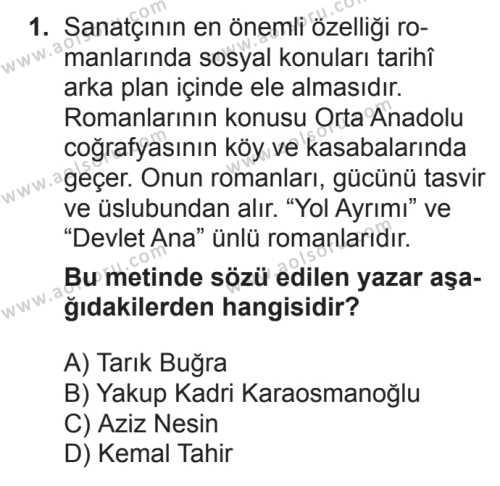 Seçmeli Türk Edebiyatı 7 Dersi 2017 - 2018 Yılı 2. Dönem Sınavı 1. Soru