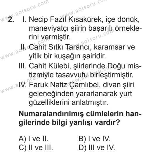 Seçmeli Türk Edebiyatı 7 Dersi 2017 - 2018 Yılı 2. Dönem Sınavı 2. Soru