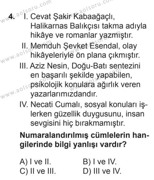 Seçmeli Türk Edebiyatı 7 Dersi 2017 - 2018 Yılı 2. Dönem Sınavı 4. Soru