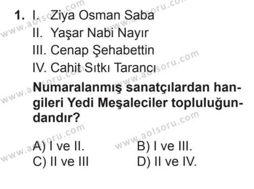 Seçmeli Türk Edebiyatı 7 Dersi 2017 - 2018 Yılı 3. Dönem Sınavı 1. Soru