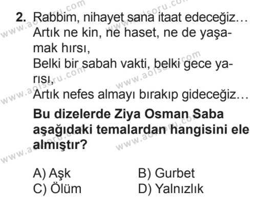 Seçmeli Türk Edebiyatı 7 Dersi 2017 - 2018 Yılı 3. Dönem Sınavı 2. Soru