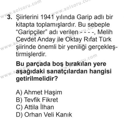 Seçmeli Türk Edebiyatı 7 Dersi 2017 - 2018 Yılı 3. Dönem Sınavı 3. Soru