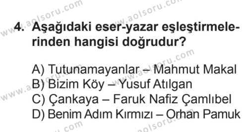 Seçmeli Türk Edebiyatı 7 Dersi 2017 - 2018 Yılı 3. Dönem Sınavı 4. Soru