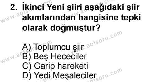 Seçmeli Türk Edebiyatı 8 Dersi 2011 - 2012 Yılı Ek Sınav Soruları 2. Soru