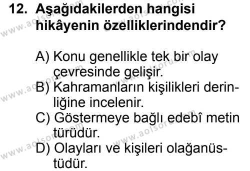 Seçmeli Türk Edebiyatı 8 Dersi 2012-2013 Yılı 1. Dönem Sınavı 12. Soru