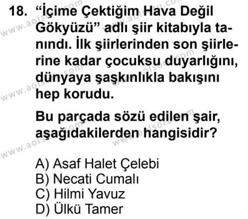 Seçmeli Türk Edebiyatı 8 Dersi 2012-2013 Yılı 1. Dönem Sınavı 18. Soru