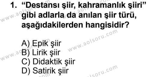 Seçmeli Türk Edebiyatı 8 Dersi 2012 - 2013 Yılı 2. Dönem Sınav Soruları 1. Soru