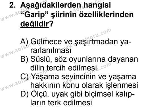 Seçmeli Türk Edebiyatı 8 Dersi 2012 - 2013 Yılı 2. Dönem Sınav Soruları 2. Soru
